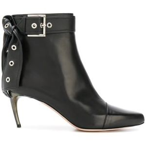 Alexander McQueen Black Eyelet Bow Ankle Boots